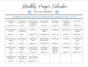 Monthly Prayer Calendar
